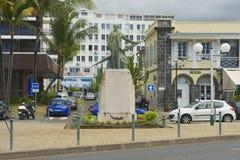 罗兰・加洛斯雕象的外部在圣但尼De La Reunion,法国 图库摄影