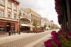 ?? 罗兹,2018年7月 最长的商业街在欧洲:Piotrkowska 免版税库存图片