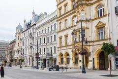 罗兹Piotrkowska街 免版税库存照片