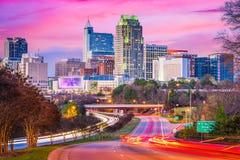 罗利,北卡罗来纳,美国街市地平线 免版税库存照片