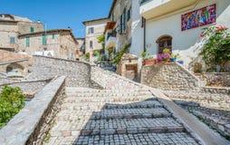 罗坎蒂卡,意大利列蒂省的,拉齐奥意大利农村中世纪村庄 免版税库存照片