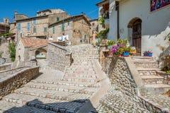 罗坎蒂卡,意大利列蒂省的,拉齐奥意大利农村中世纪村庄 库存照片