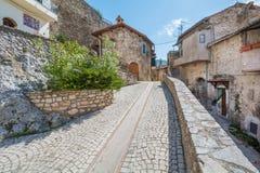 罗坎蒂卡,意大利列蒂省的,拉齐奥意大利农村中世纪村庄 免版税库存图片