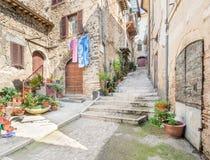 罗坎蒂卡,意大利列蒂省的,拉齐奥意大利农村中世纪村庄 图库摄影