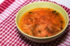 罗宋汤或俄国红色蔬菜汤在碗 库存照片