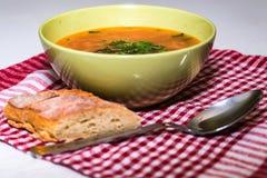 罗宋汤或俄国红色蔬菜汤在碗 免版税库存照片