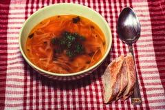 罗宋汤或俄国红色蔬菜汤在碗 库存图片