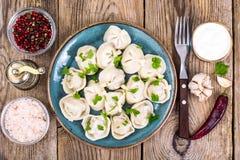 罗宋汤特写镜头烹调俄语汤 自创饺子充塞了肉 免版税库存图片