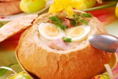 罗宋汤碗面包白色 免版税库存照片