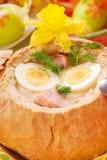 罗宋汤碗面包白色 库存图片