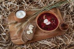 罗宋汤-一个传统乌克兰盘 库存图片