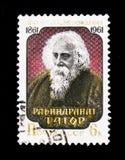 罗宾德拉纳特・泰戈尔画象1861-1941,印地安诗人, 100th诞生周年,大约1961年 图库摄影