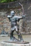 罗宾汉雕象诺丁汉城堡的,诺丁汉 免版税库存图片