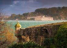 费罗尔半岛,西班牙- 2月08 :圣费利佩和拉帕尔玛岛城堡 库存图片