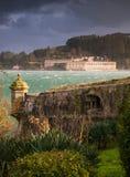 费罗尔半岛,西班牙- 2月08 :圣费利佩和拉帕尔玛岛城堡 免版税库存照片