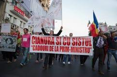 罗希亚蒙塔讷抗议在布加勒斯特,罗马尼亚- 9月07日 免版税库存图片