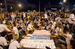 罗希亚蒙塔讷抗议在布加勒斯特,罗马尼亚- 9月08日(6) 免版税库存图片