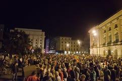 罗希亚蒙塔讷抗议在布加勒斯特,罗马尼亚(2) 库存照片