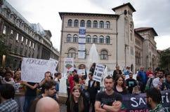 罗希亚蒙塔讷抗议在布加勒斯特,罗马尼亚(22) 免版税库存照片