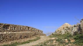 罗希姆诺历史的老镇有老的小教会 希腊 库存照片