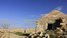 罗希姆诺历史的老镇有老的小教会 希腊 图库摄影