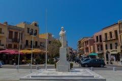罗希姆诺,希腊- 2016年8月1日:未知的S的雕象 免版税图库摄影