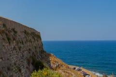罗希姆诺,希腊- 2016年7月30日:Fortezza城堡墙壁  免版税库存图片