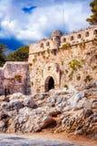 罗希姆诺Fortezza -威尼斯式堡垒在老镇罗希姆诺,克利特 图库摄影