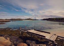 罗弗敦群岛在夏天之前在挪威 库存图片