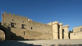 罗得岛中世纪骑士城堡(宫殿),希腊 免版税图库摄影