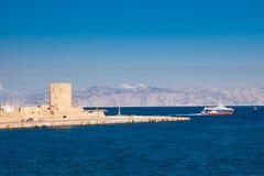 罗得岛希腊海岸  免版税库存照片