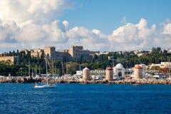 罗得岛希腊海岸  免版税库存图片