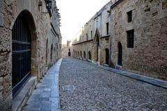 罗得岛海岛,希腊,欧洲老镇的巷道  库存照片