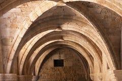 罗得岛考古学博物馆骑士的医院的中世纪大厦 免版税图库摄影