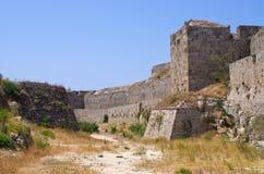 罗得岛镇,希腊极大的古老墙壁  库存图片