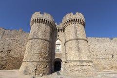 罗得岛,希腊老镇的门。 免版税库存照片