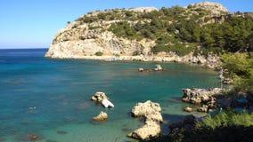 罗得岛,希腊- 2017年:安东尼・奎恩海湾在罗得岛希腊 股票视频