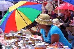 罗得里格斯岛,毛里求斯- 2012年11月10日:在马蒂兰港的市场有保护免受太阳的五颜六色的伞的 库存图片