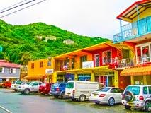 罗德城,托尔托拉岛,英属维尔京群岛- 2013年2月06日:城市罗德城的街道风景在的托尔托拉岛 免版税图库摄影
