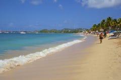 罗德尼海湾全景在圣卢西亚,加勒比 免版税库存照片