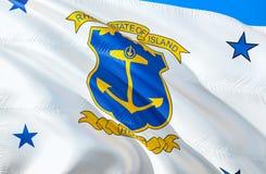 罗德岛州旗子 挥动美国州旗子设计的3D 罗德岛州,3D的全国美国标志翻译 上色国民 免版税库存照片