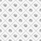 罗斯剪影 无缝的模式 花设计元素 也corel凹道例证向量 典雅的花概述设计 被隔绝的灰色标志  免版税库存图片