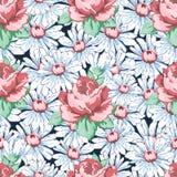 罗斯和春黄菊开花得出无缝的样式,传染媒介花卉背景,花卉刺绣装饰品的手 拉长的芽桃红色ros 库存照片