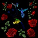 罗斯和鸟刺绣 免版税库存图片