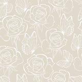 罗斯和蝴蝶seamless_pattern淡色 库存照片