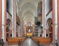 罗斯基勒大教堂,丹麦内部  免版税图库摄影