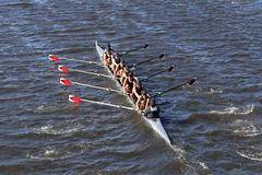 罗斯市乘员组在查尔斯赛船会人` s青年时期Eights头赛跑  图库摄影