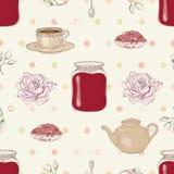 罗斯果酱和茶无缝的样式 库存照片