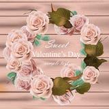 罗斯花缠绕现实传染媒介 精美桃红色花卉圆的框架 情人节卡片 图库摄影