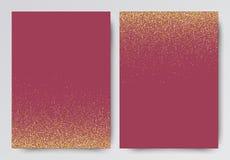 罗斯金子闪烁与闪闪发光的邀请模板事件的 库存例证